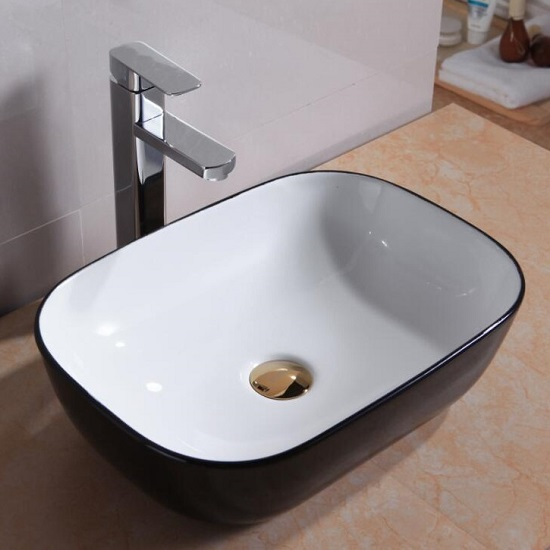 WB 4632BK CURO Above Counter Basin *Internal-white, External-black*