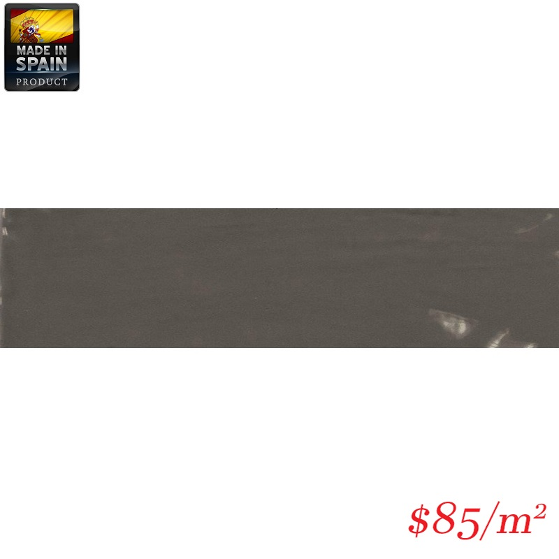 EQU0006 COTTAGE SUBWAY DARK GREY GLOSS 75X300MM Made In Spain