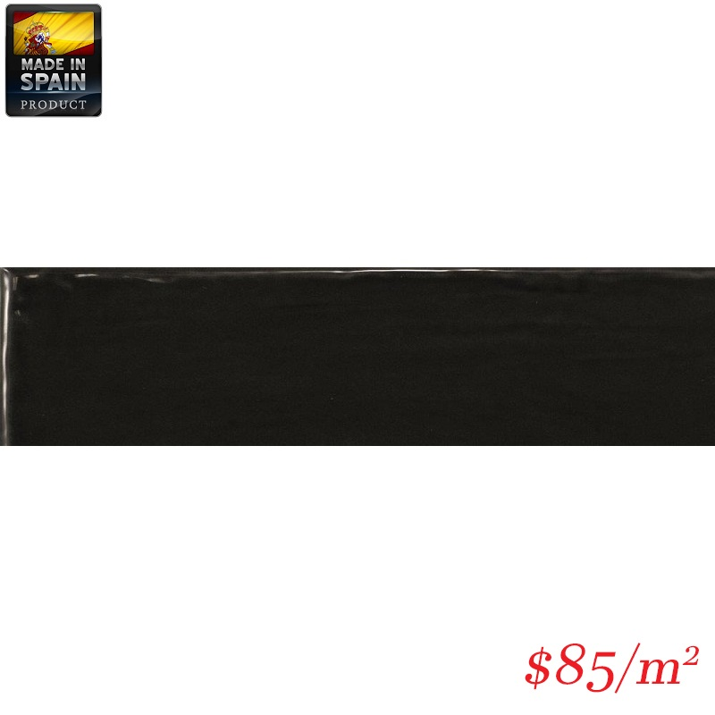 EQU0010 COTTAGE SUBWAY BLACK GLOSS 75X300MM Made In Spain