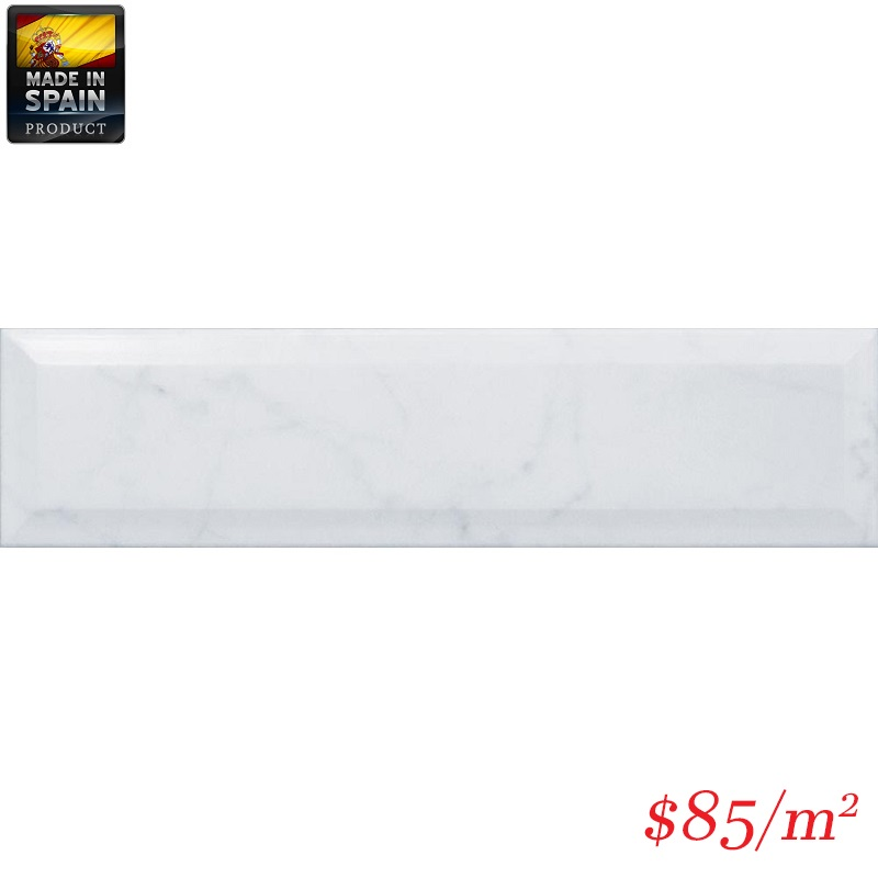 EQU0011 CARARRA METRO BEVELLED GLOSS 75X300MM Made In Spain