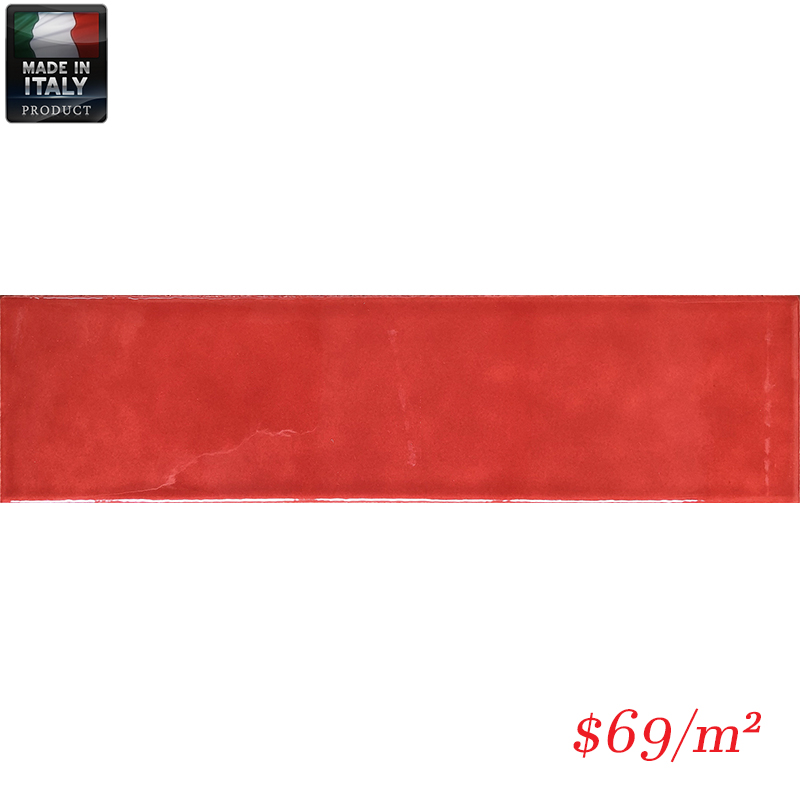 IMO0029 BUBBLE RED GLOSS PLAIN 75X300MM V1 BBBLTU73R MADE IN ITALY
