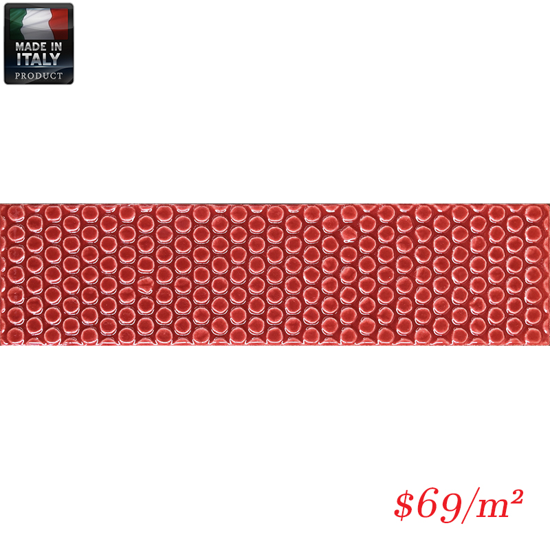 IMO0032 BUBBLE RED GLOSS DECOR 75X300MM V1 MADE IN ITALY