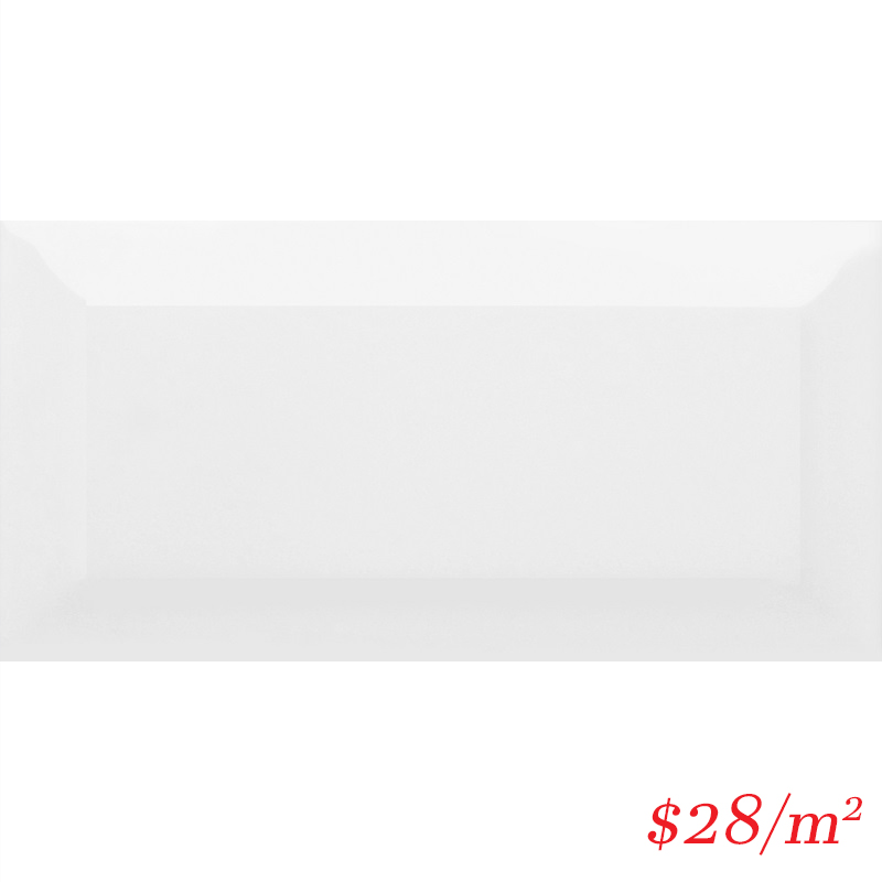 LEO0025 BEVELLED SUBWAY WHITE GLOSS 75X150MM
