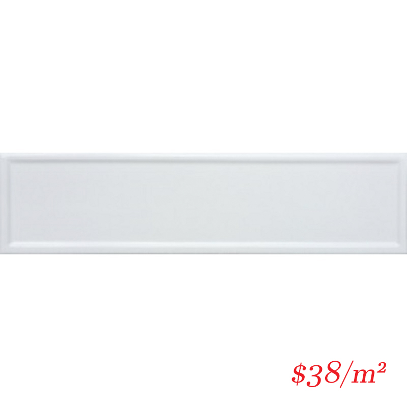 BOV0006 SUBWAY FRAMED GLOSS WHITE 100X400MM