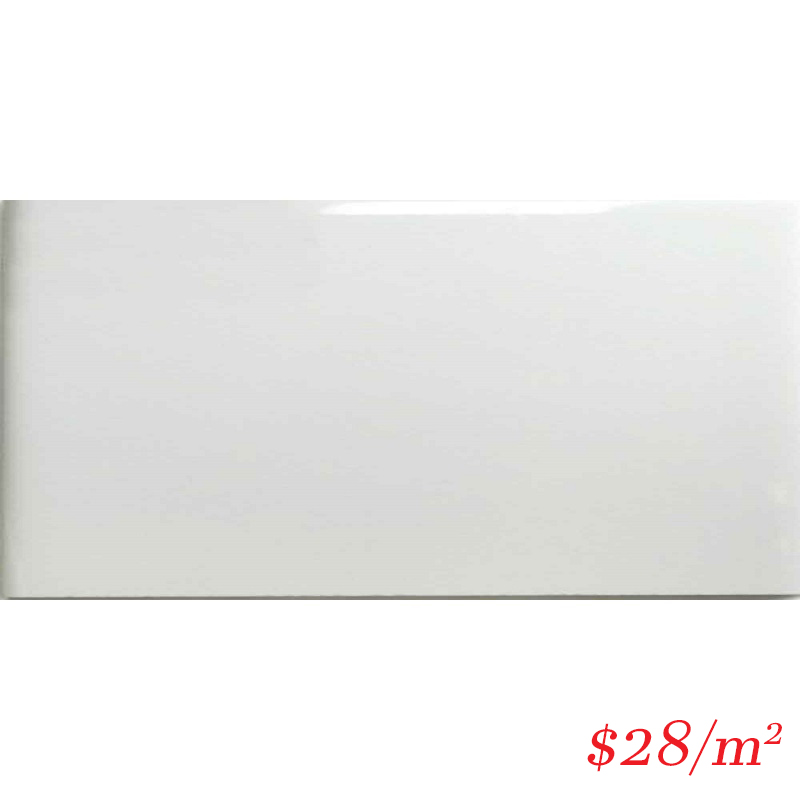 LEO0024 PLAIN SUBWAY WHITE GLOSS 75X150MM