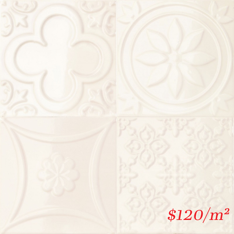 188090 LUCCIOLA HUESO GLOSS 150X150mm Spain Made