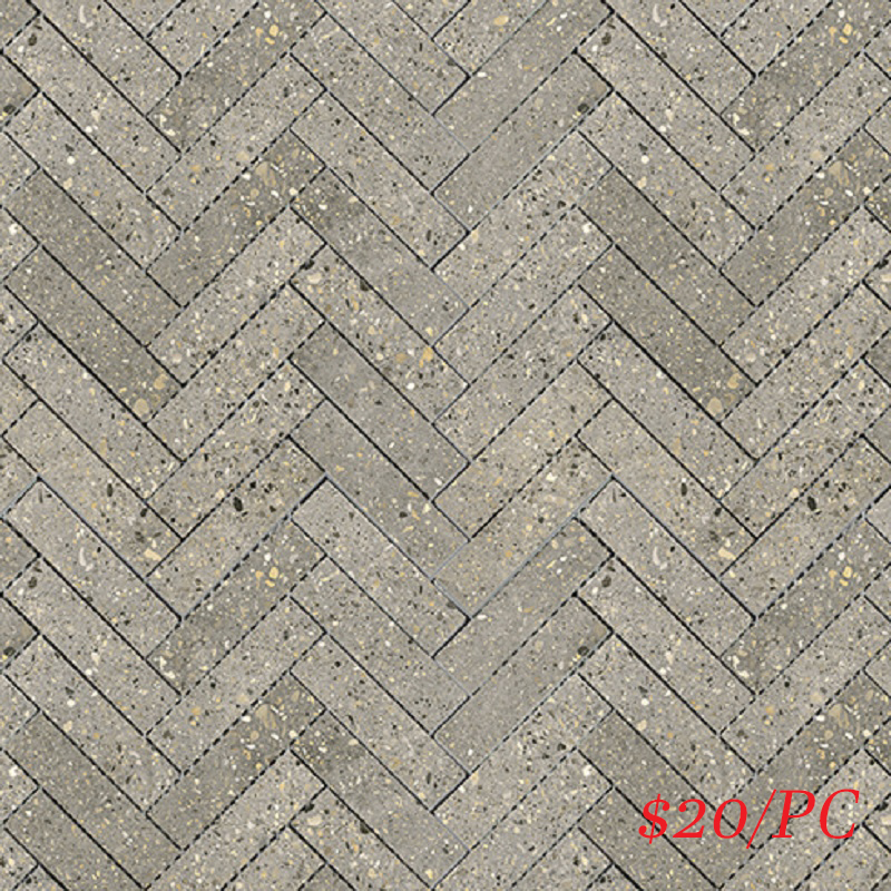 BETDARGREHERL BETON DARK GREY LAPPATO HERRINGBONE 23X100MM (287X281MM)