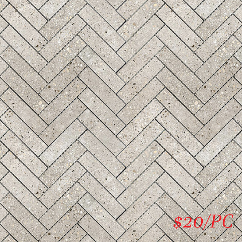 BETLIGGREHERL BETON LIGHT GREY LAPPATO HERRINGBONE 23X100MM (287X281MM)
