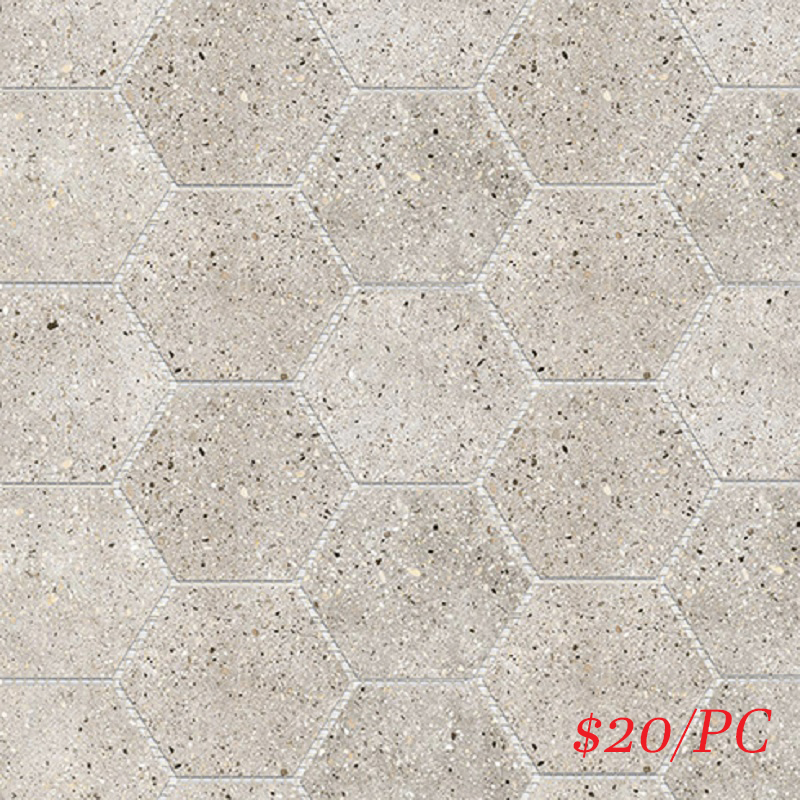 BETLIGGREHEXL BETON LIGHT GREY LAPPATO HEXAGON 101X101MM (309X267MM)