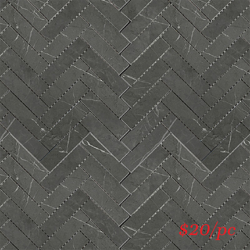 BRADARGREHER BRACCA DARK GREY MATT HERRINGBONE 20X100MM (287X281MM)