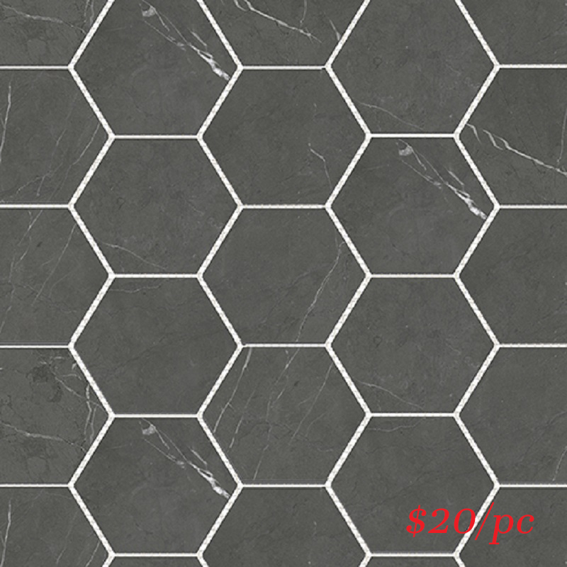 BRADARGREHEX BRACCA DARK GREY HEXAGON 100X100MM (292X252MM)