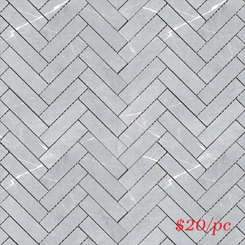 BRALIGGREHER BRACCA LIGHT GREY MATT HERRINGBONE 20X100MM (287X281MM)