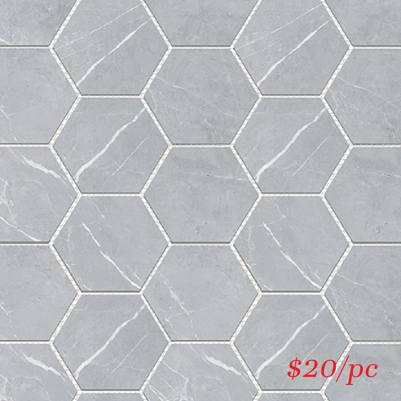 BRALIGGREHEX BRACCA LIGHT GREY HEXAGON 100X100MM (292X252MM)