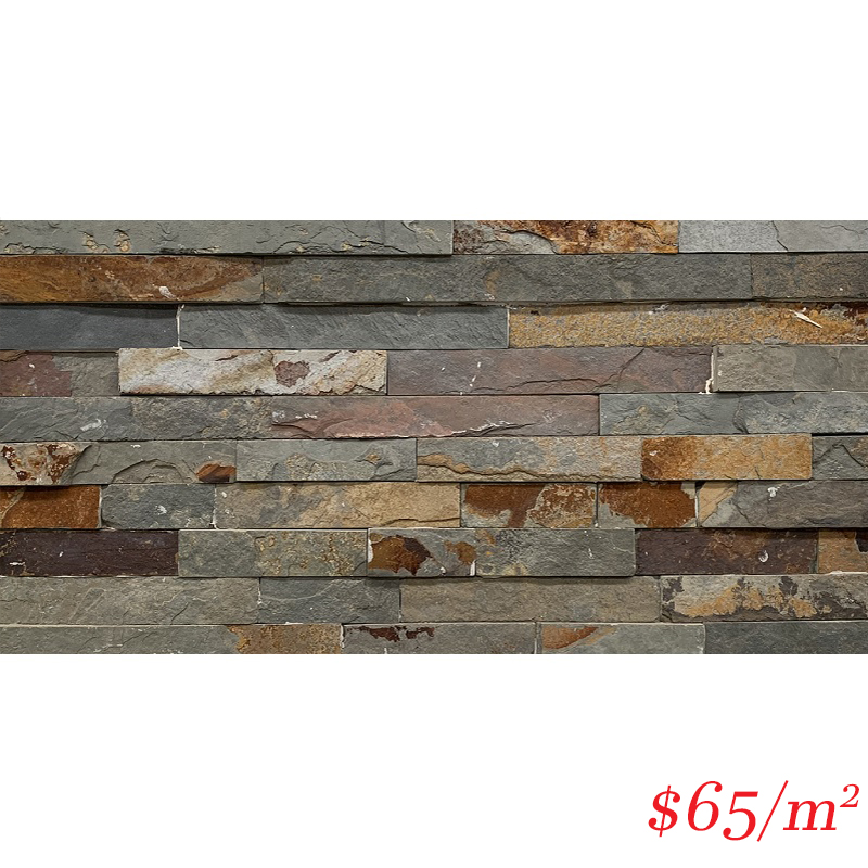 Stackstone - Rustic Charcoal Flat 600×150×10-35mm