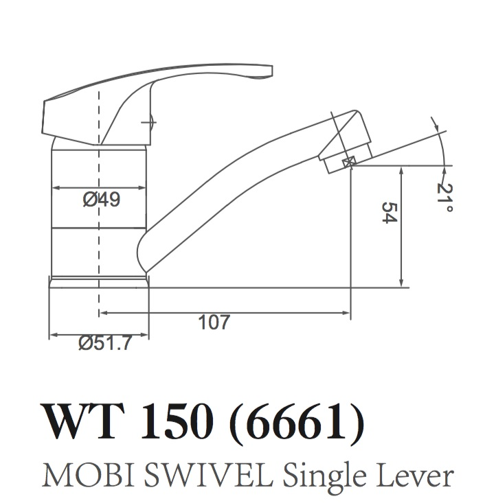 WT 150D MOBI Basin Mixer (Swivel) with Disabled Handle, 150mm Handle