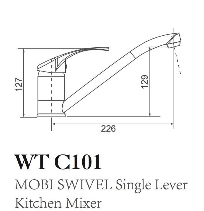 WT C101D MOBI Sink Mixer with Disabled Handle, 150mm Handle