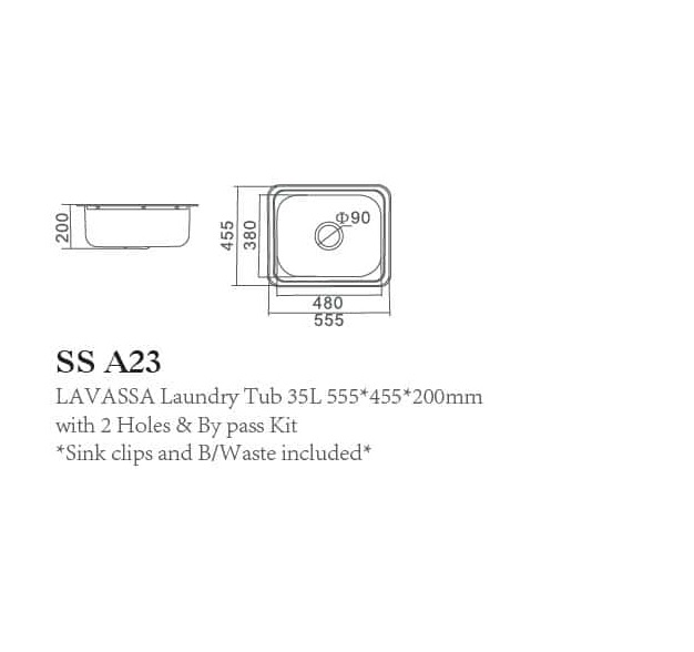 SS A23 LAVASSA Single 35L Laundry Tub