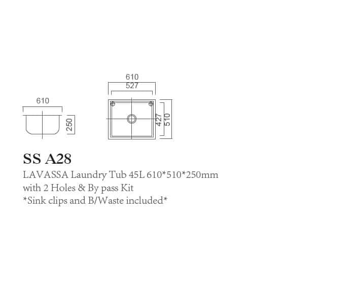 SS A28 LAVASSA Single 45L Laundry Tub