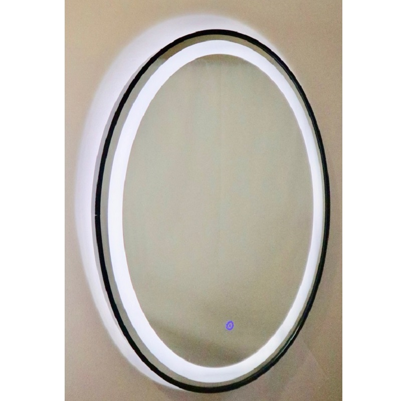 MIRO LUNA608 Anti Fog Mirror with LED Light, Matte Black Frame and Touch-on Switch 600W*800H