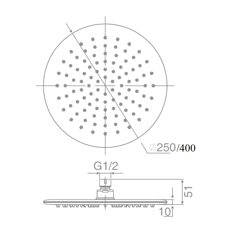 SH RS250 DOCCIA RD Shower Head, 6mm Thick, Laser Welded (250mm)