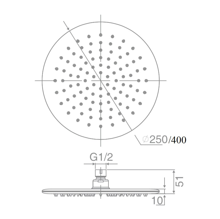 SH RS400 DOCCIA RD Shower Head, 6mm Thick, Laser Welded (400mm)