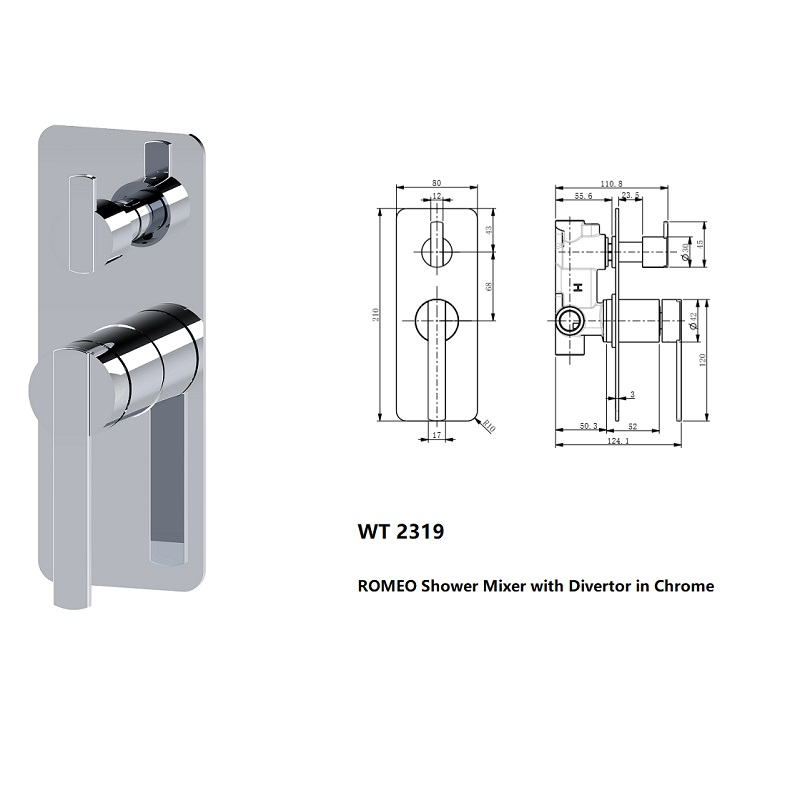 WT 2319 ROMEO Shower Mixer with Diverter Chrome Finish