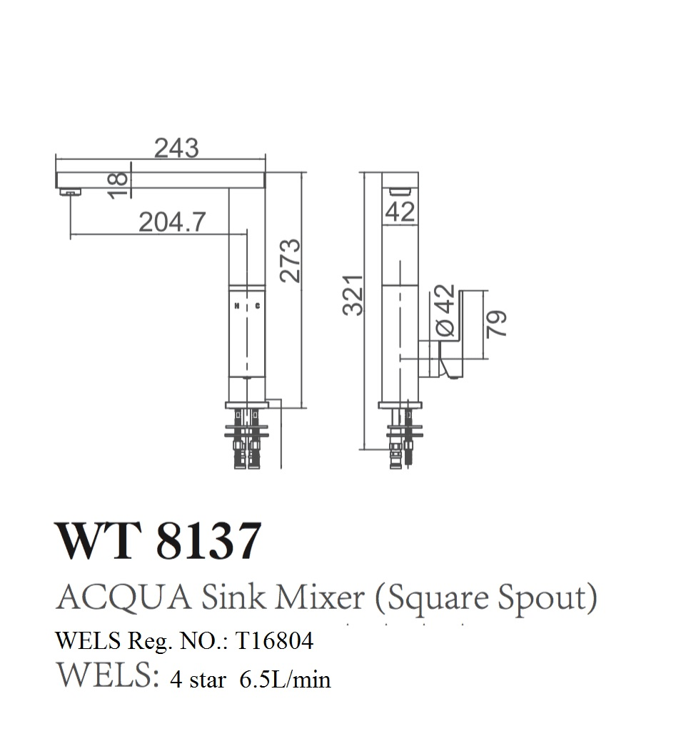 WT 8137 ACQUA Square Sink Mixer
